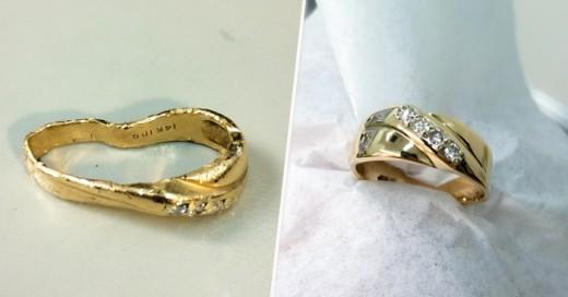 La extraordinaria reconstrucción de un anillo de bodas que se perdió y fue a dar a la basura quedando destrozado, al encontrarlo gran reconstrucción de ha hecho