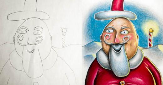Ilustrando los dibujos de sus hijos