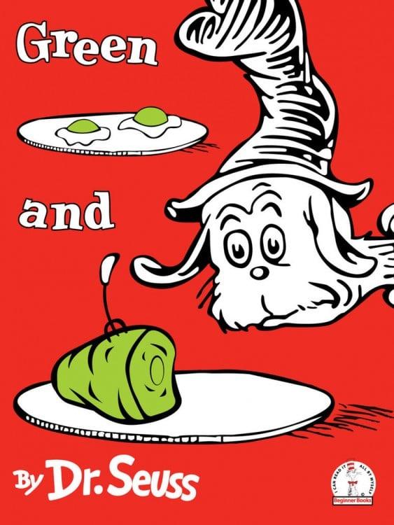 Portada del libro escrito por Dr. Seuss titulado Huevos verdes y jamón