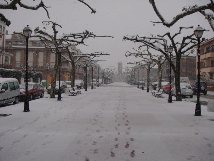 Ciudad cubierta de nieve