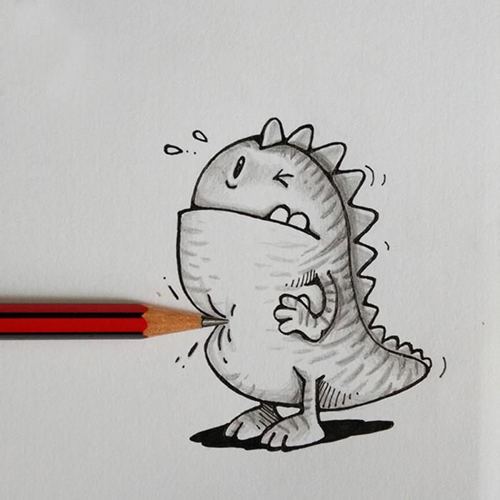 Dibujo de Drogo el dragón interactuando con un lápiz que simula pincharlo