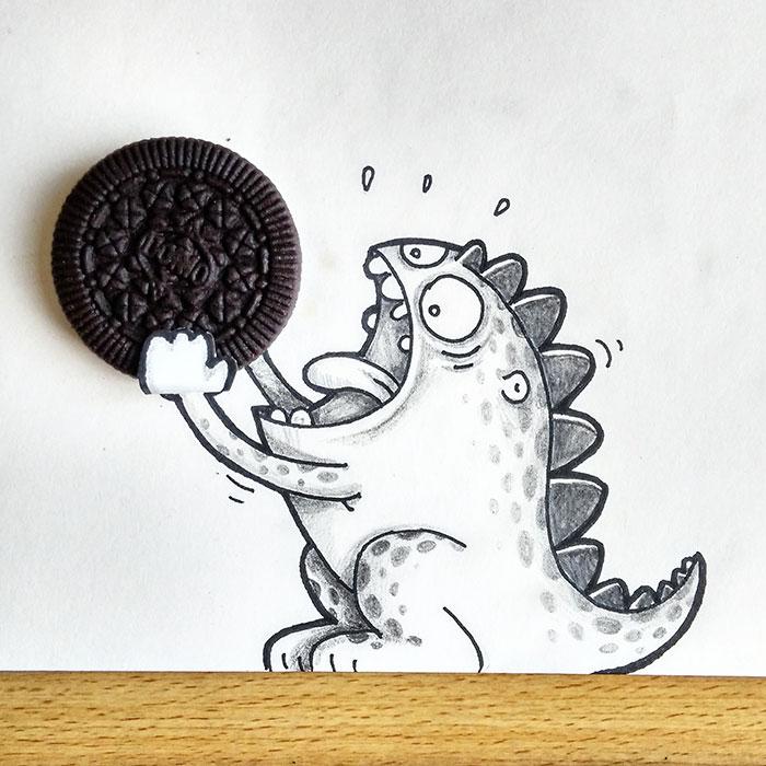 Dibujo de Drogo el dragón interactuando con una galleta Oreo que simula comérsela