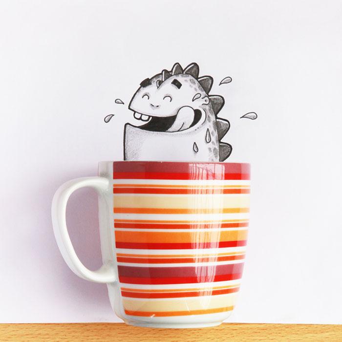 Dibujo de Drogo el dragón interactuando con una taza de café
