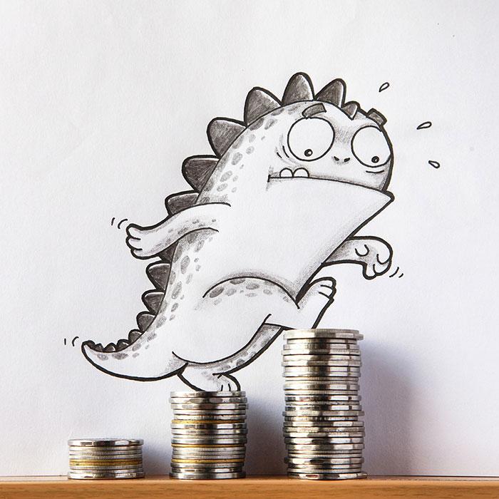 Dibujo de drogo el dragón simulando que escala montones de monedas