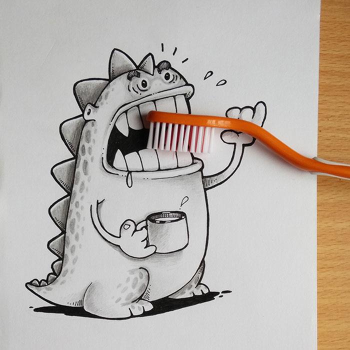 Dibujo de drogo el dragón interactuando con un cepillo de dientes