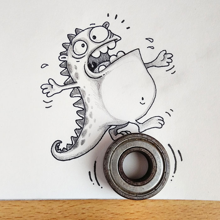 Dibujo de drogo el dragón interactuando con un objeto