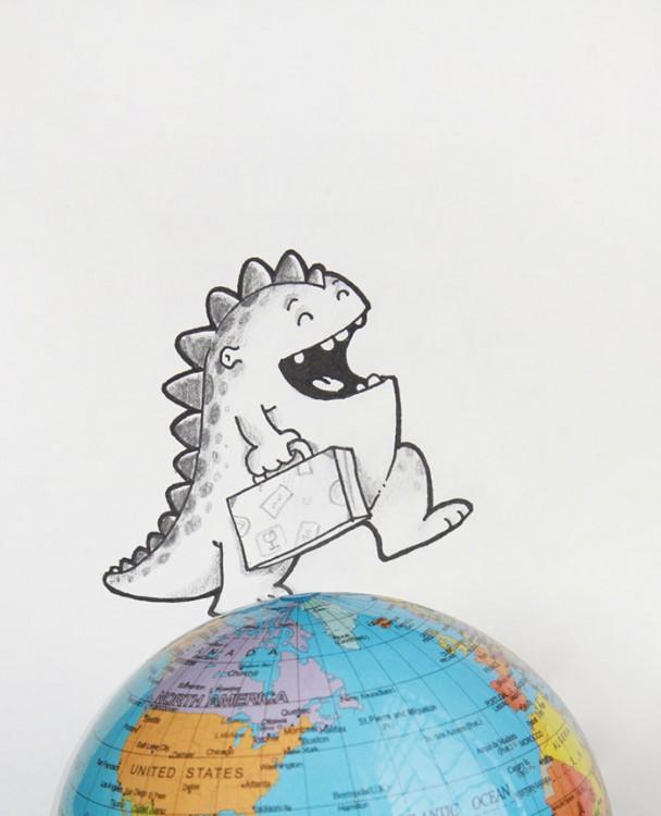 Dibujo del dragón Drogo simulando que camina por un globo terraquio