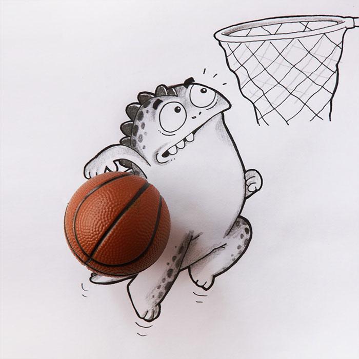 Dibujo de drogo el dragón simulando que encestará la pelota de baloncesto