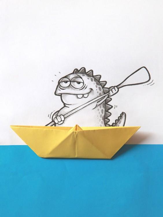 Dibujo del dragón Drogo interactuando con un barco de papel
