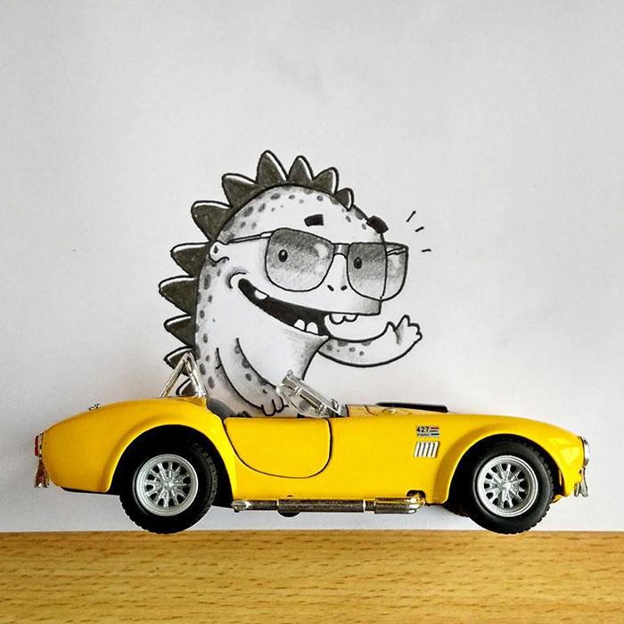 Drogo el dragón interactuando con un carro