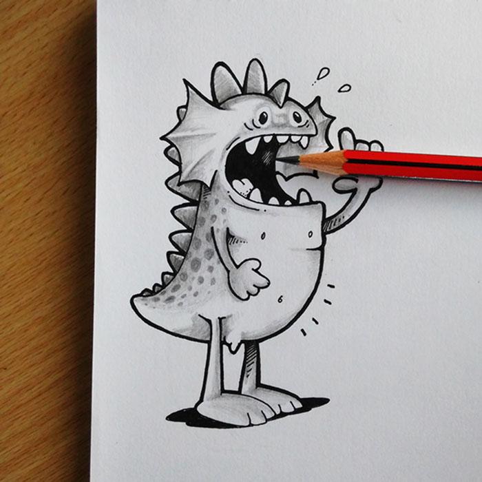 Dibujo de drogo el dragón simulando que se comerá un lápiz