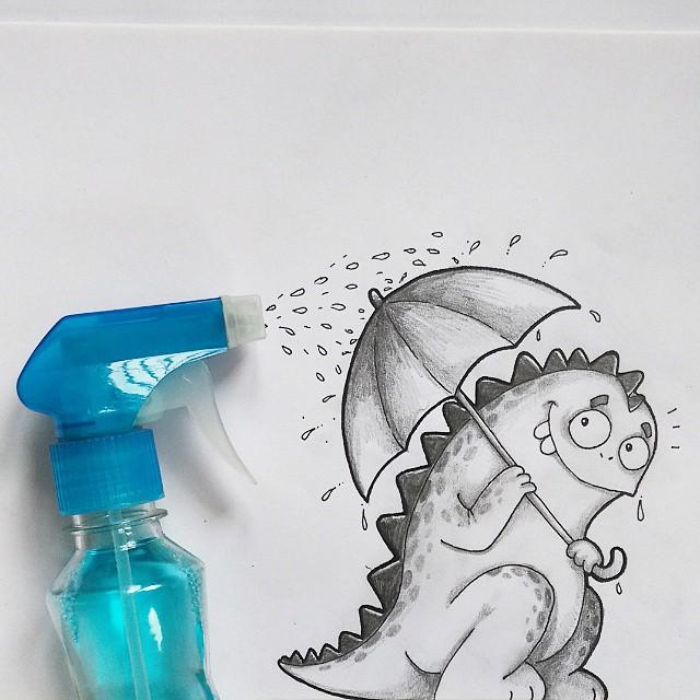 Dibujo de drogo el dragón interactuando con un atomizador
