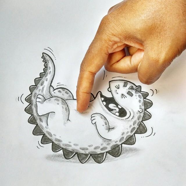 Dibujo de drogo el dragón simulando que una mano le hace cosquillas