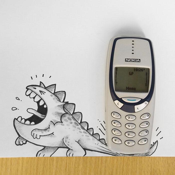 Drogo el dragón interactuando con un celular nokia