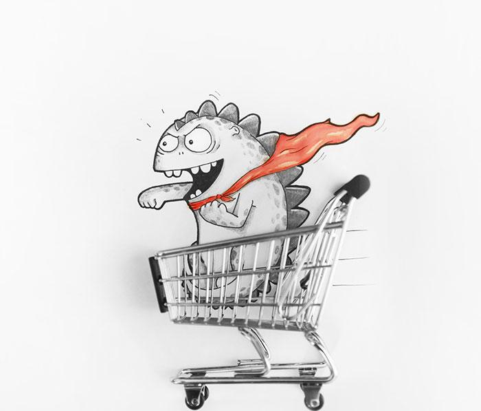 Drogo el dragón interactuando con un pequeño carrito de supermercado
