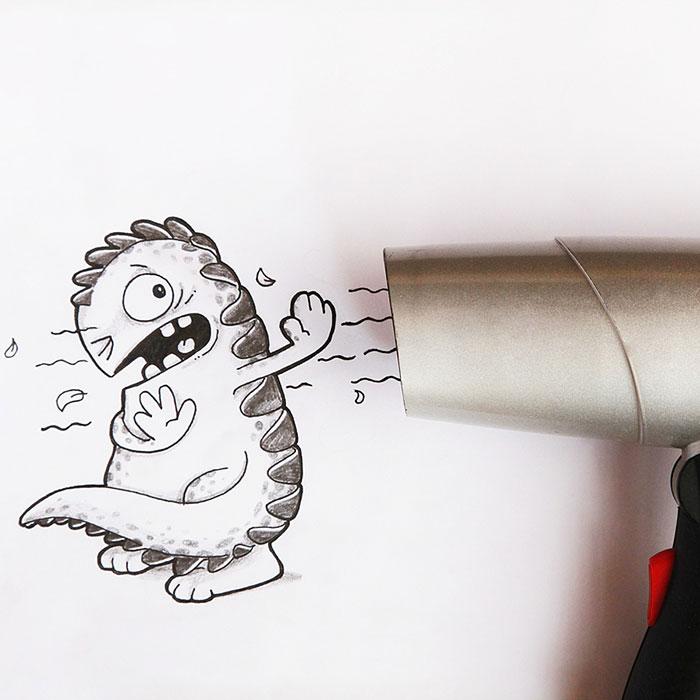 Dibujo de Drogo el dragón interactuando con una secadora de cabello