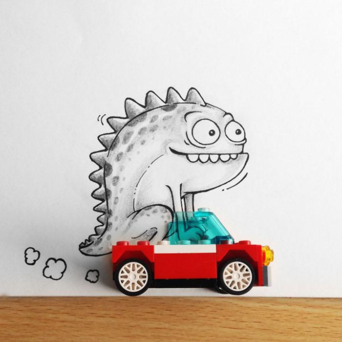 Drogo dibujo de dragón animado interactuando con un carro de juguete