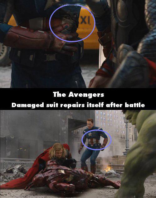 Error de la película los vengadores donde al capitán américa se le repara solo su traje