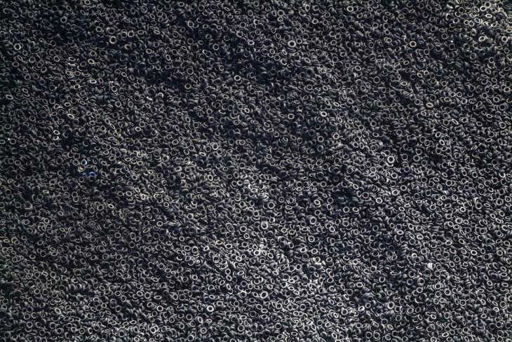 Vertedero de neumáticos usados