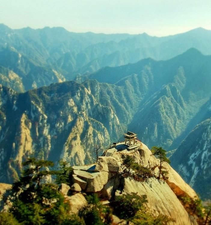 cima de la montaña del monte Huashan