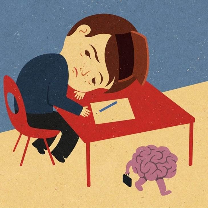 un niño pequeño acostado en una mesa y su cerebro caminando debajo