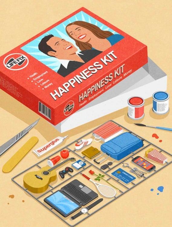 Una caja de un juego llamado Happiness