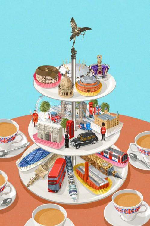 un soporte de pastel con muchas figuras de carros y personas