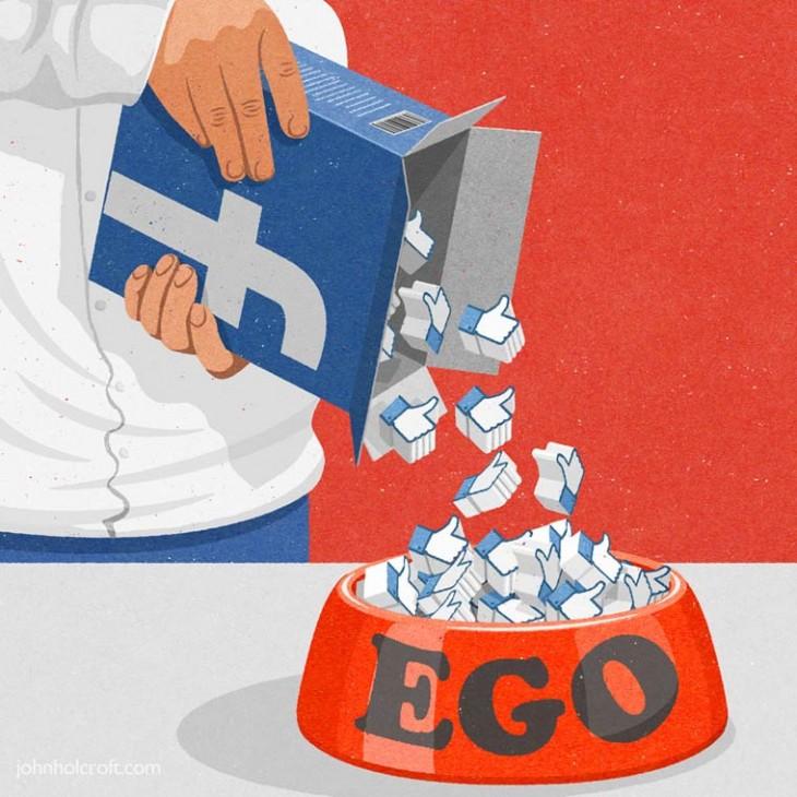 persona vaciando likes a un tazón con la palabra EGO