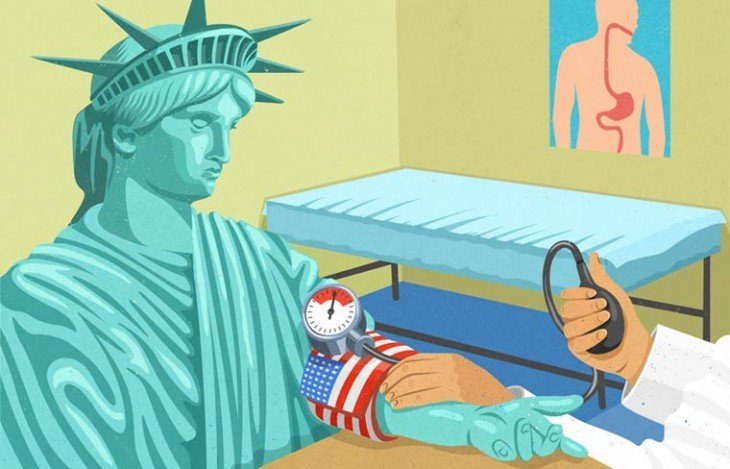 medico tomando la presión a la estatua de la libertad