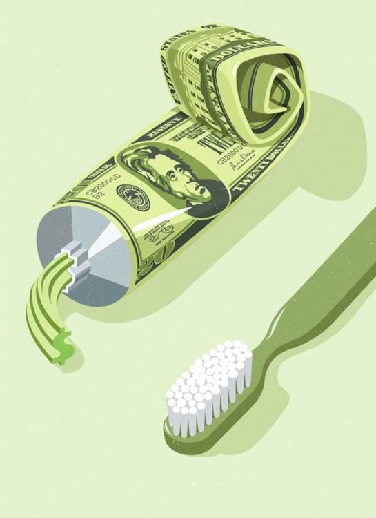 Ilustración de una pasta de dientes con el diseño de un dollar