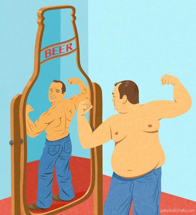 hombre gordo que frente al espejo en forma de cerveza se ve delgado