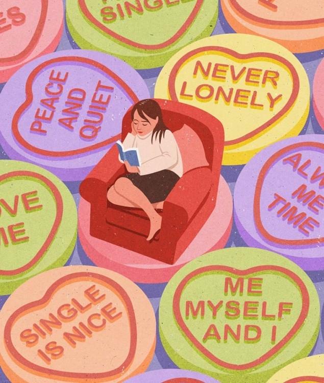 Mujer rodeada de corazones sentada en un sillón leyendo