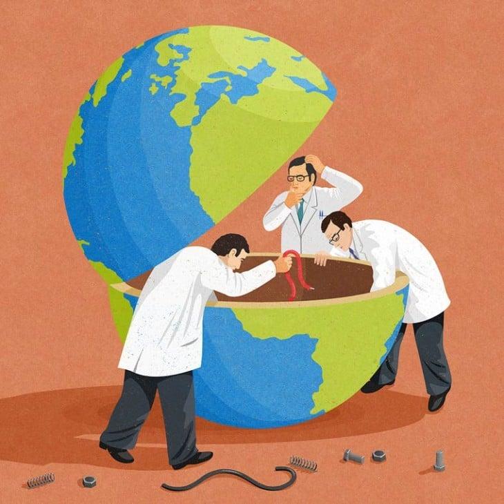 científicos abriendo el mundo a la mitad