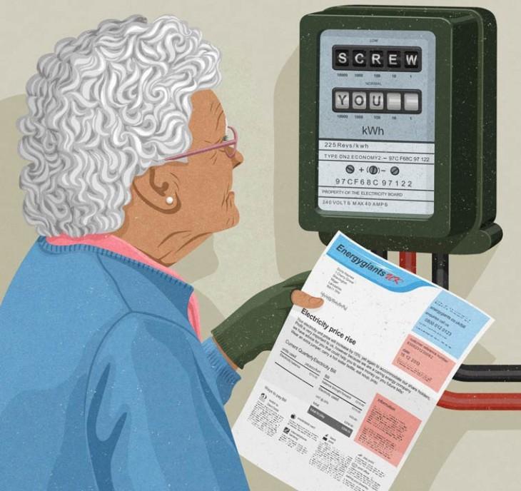 una anciana mirando hacia un artefacto frente a ella
