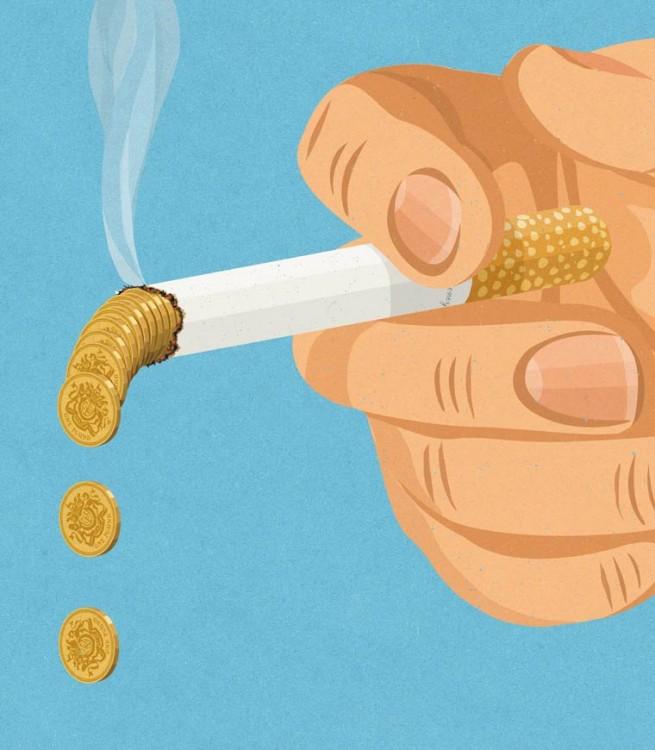 mano con un cigarro que en vez de ceniza tira monedas de oro