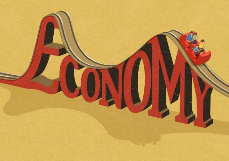personas en un juego mecánico con las letras Economy