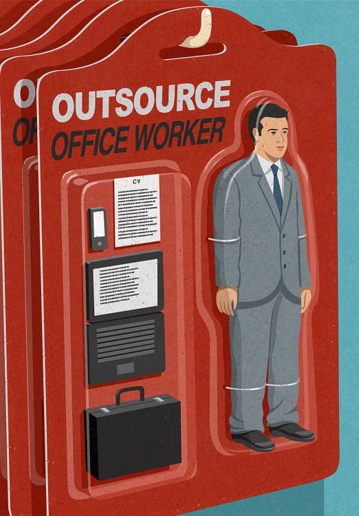 hombre envuelto en un empaque con diferentes accesorios de oficina