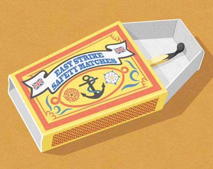 cerillo dentro de una caja en forma de ataúd