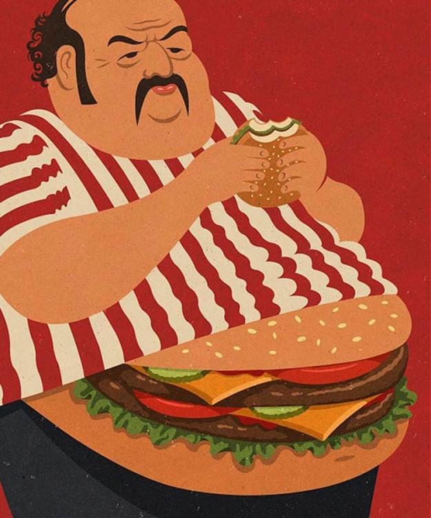 un hombre con cuerpo de hamburguesa comiendo