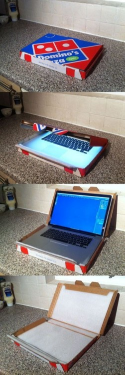 caja de pizza como funda de laptop