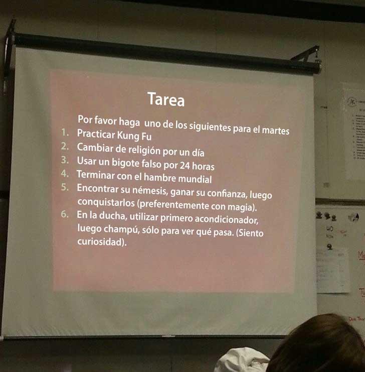 maestro deja extraña tarea a sus alumnos