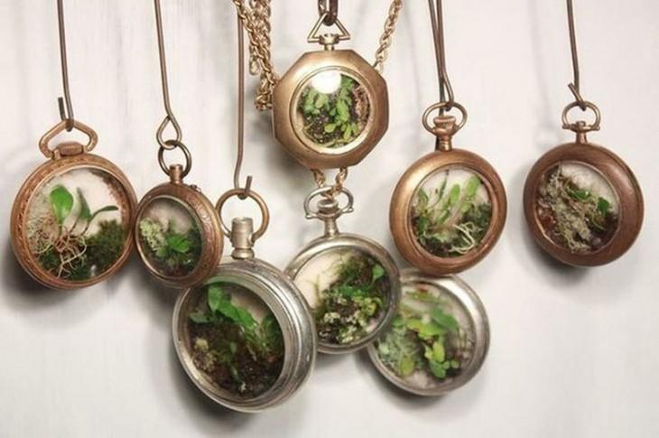 Mini jardín dentro de relojes de bolsillo