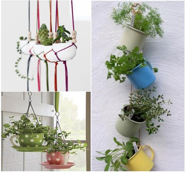 Mini jardín hecho con tazas de té colgantes