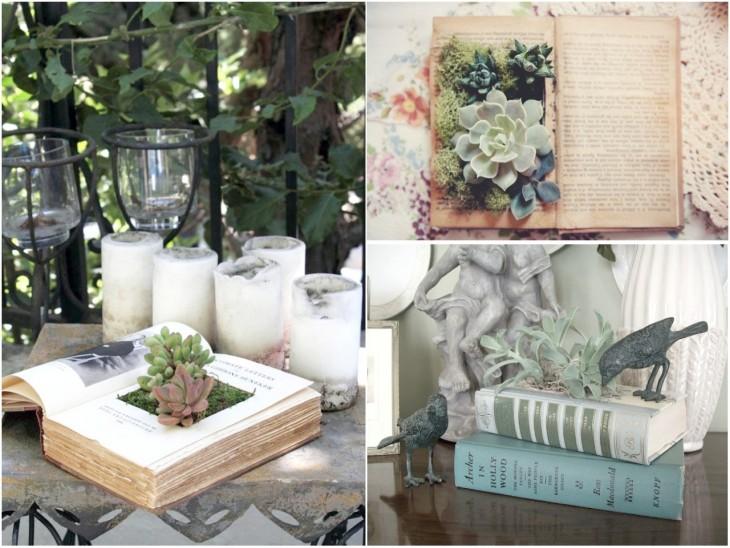 Mini jardín dentro de un libro