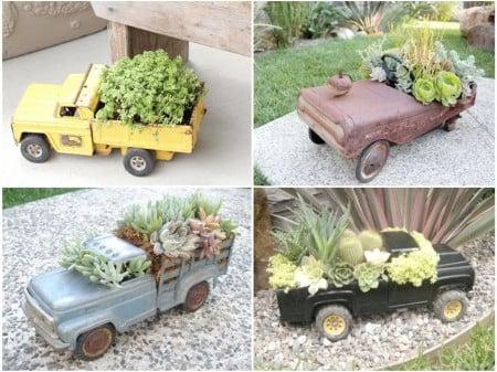 Mini jardín dentro de carrosde juguete