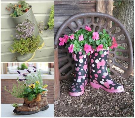 Mini jardín hecho dentro de zapatos