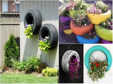Mini jardín dentro de neumáticos