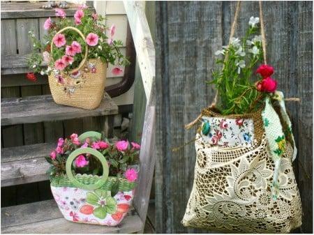 Mini jardín dentro de bolsos viejos