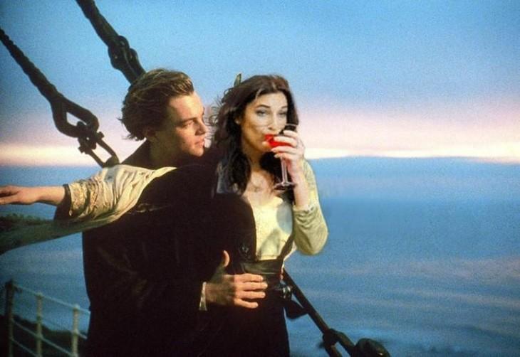photoshop de la escena con Leonardo Dicaprio en el Titanic
