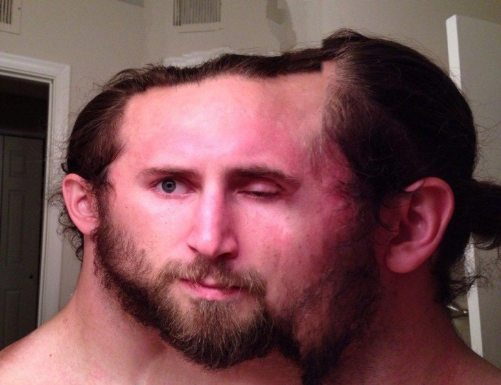 Fotografía panorámica de un chico con una cabeza en tres partes